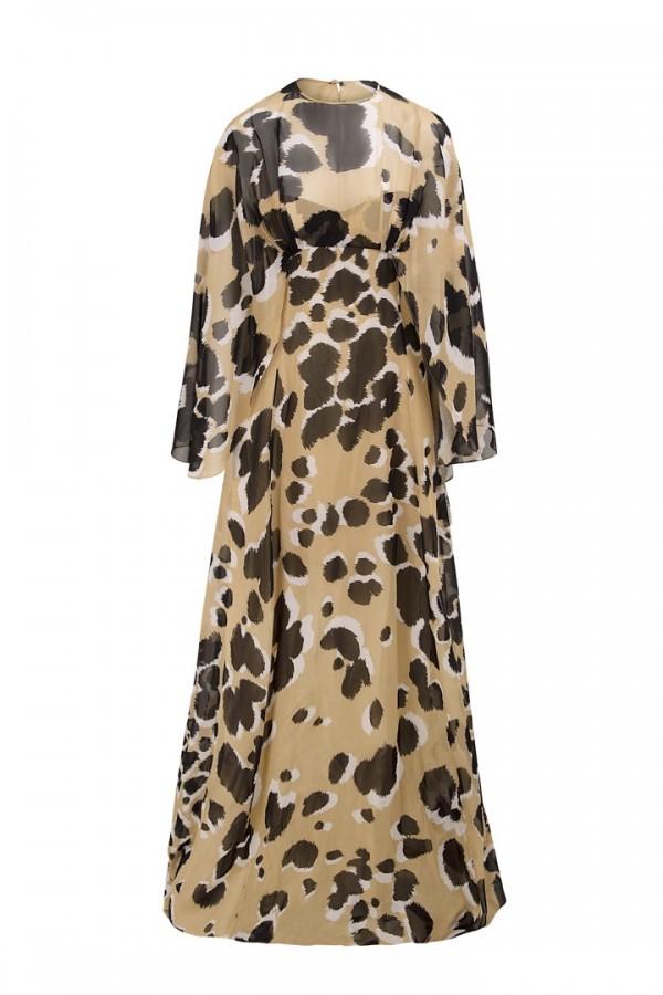 vestido largo capelina girafa