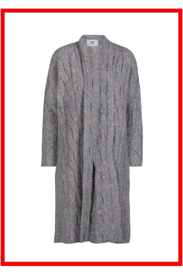 chaqueta larga de punto con ochos gris