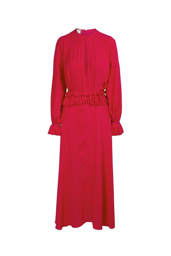 Vestido plisado peplum